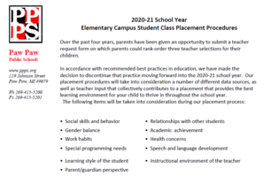 Elementary Student Class Placement Procedures