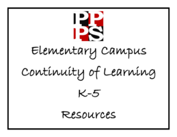 Continuity of Learning K-5 Resources For the week of May 4th